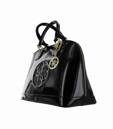Petit Sac A Anses Amy Shine Small Dome Satchel Guess Noir Vernis